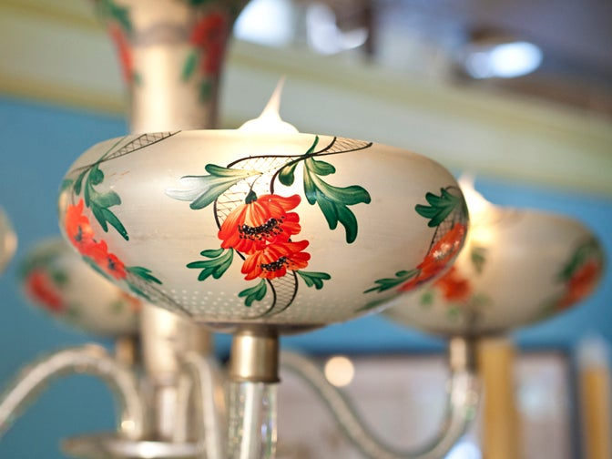 Art Deco French Hand Painted Floral Glass Chandelier In