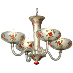 Vintage, French Hand-Painted Floral Glass Chandelier in the Japonisme Style