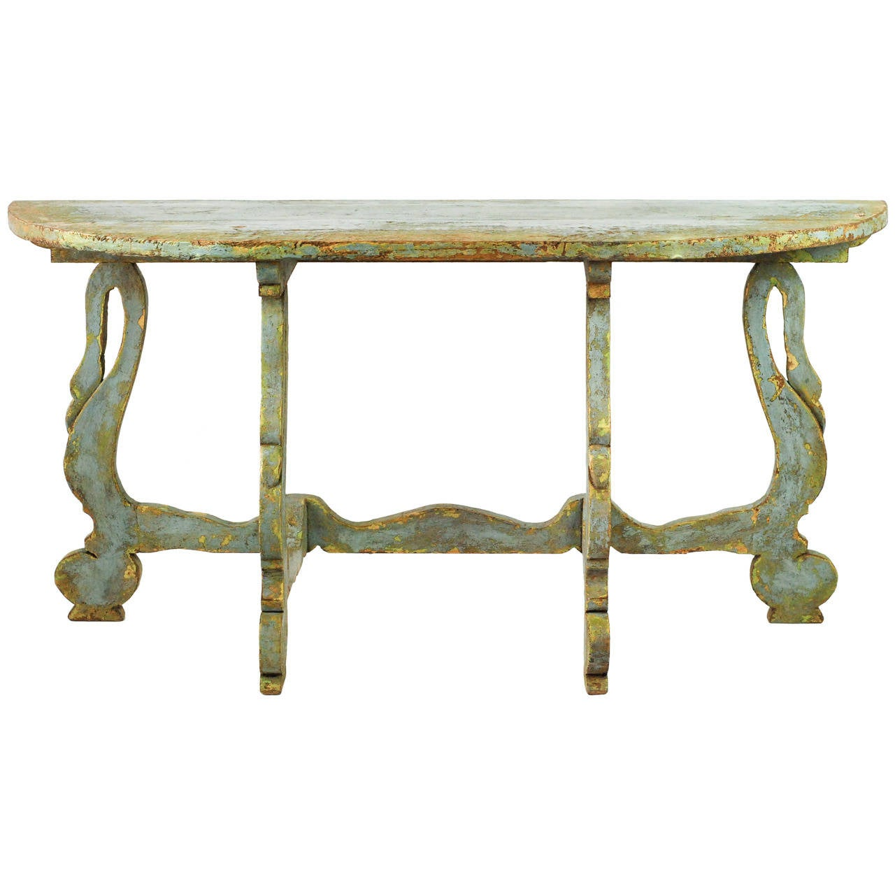 this painted swan demilune table is no longer available