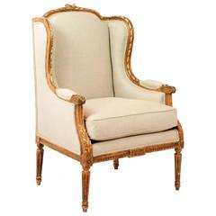 Gilded Louis XVI Wingback Armchair