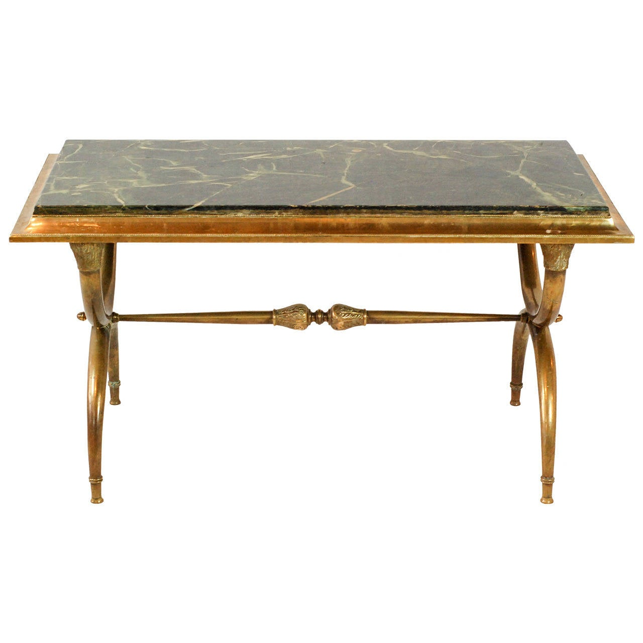 Marble Coffee Table Houston: Brass And Green Marble Coffee Table At 1stdibs