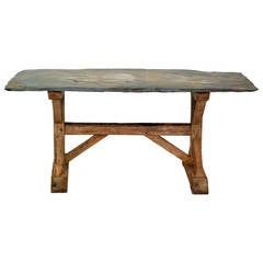 French Trestle Table with Slate Top