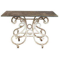 Scrolling Iron Table on Casters