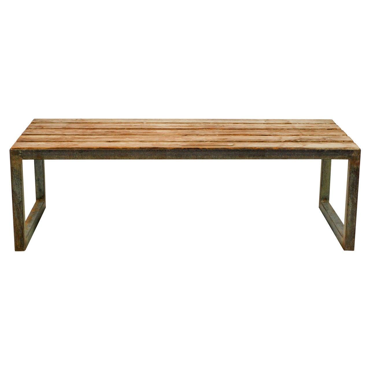 Antique Single Teak Slab Top Coffee Table At 1stdibs: Vintage Teak And Steel Coffee Table At 1stdibs