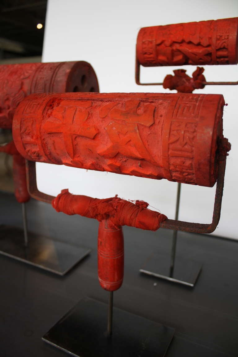 Chinese propaganda printmaking rollers at 1stdibs for Chinese furniture houston tx