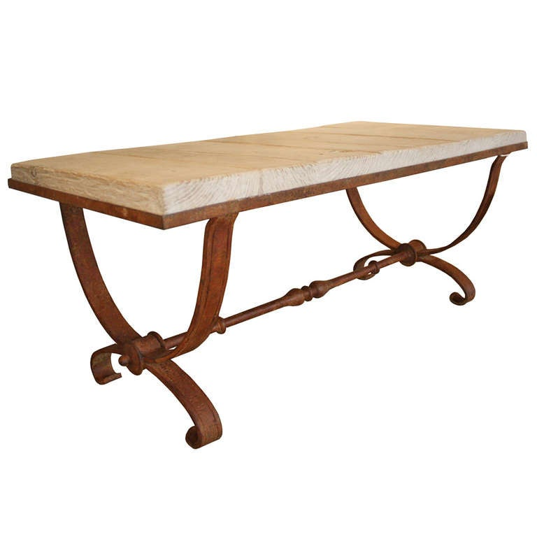 Vintage Iron Base Coffee Table At 1stdibs