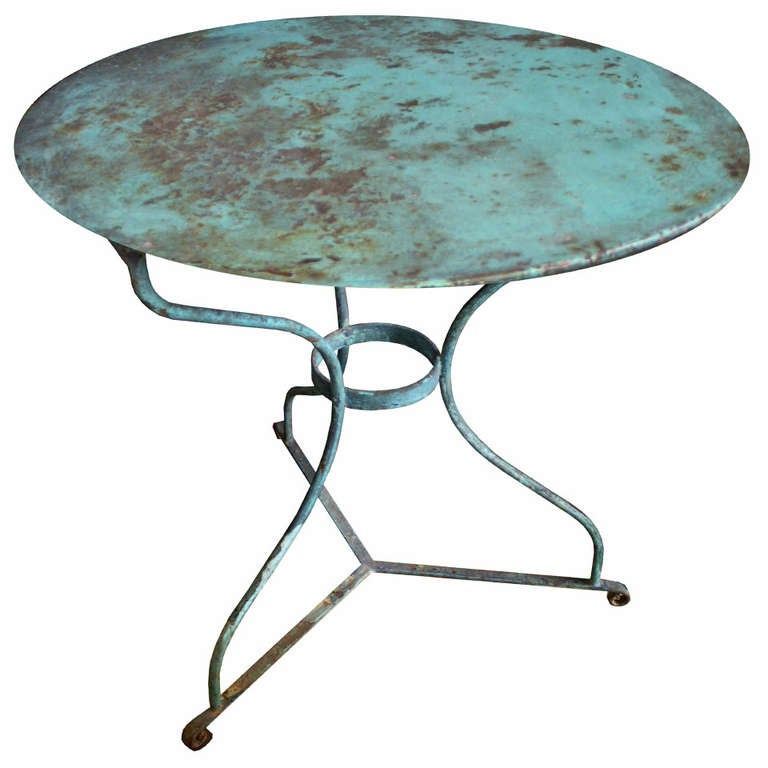 Ealing Antique Bistro Table With Vine French Iron Base