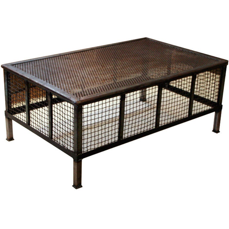 Vintage Industrial Mesh Coffee Table At 1stdibs
