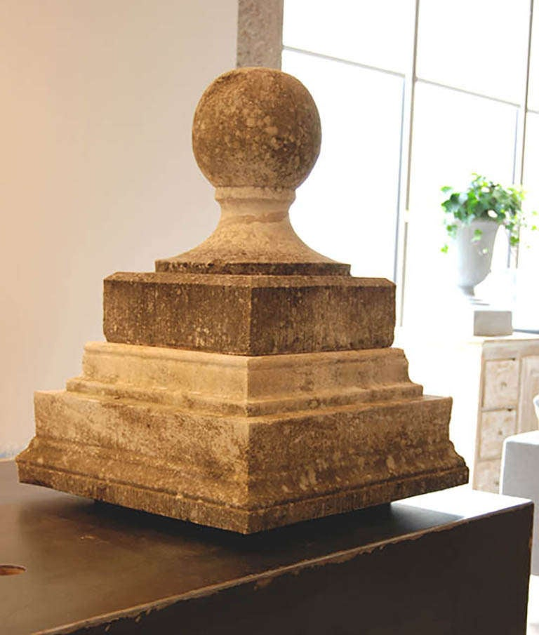 French Carved Stone Finial For Sale