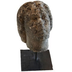 19th Century Carved Stone Head