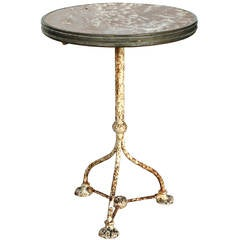 19th Century, Bistro Table with Original Marble Top and Brass Banding