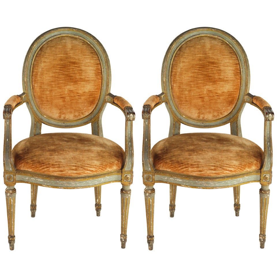 pair of louis xvi signed fauteuils at 1stdibs. Black Bedroom Furniture Sets. Home Design Ideas