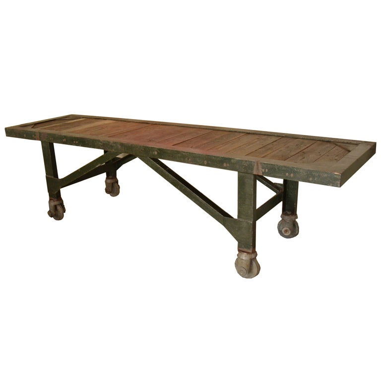 Industrial work table on casters at 1stdibs for Furniture work table