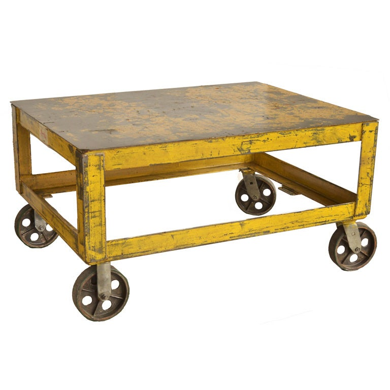 Industrial Coffee Table On Wheels At 1stdibs: Industrial Coffee Table At 1stdibs