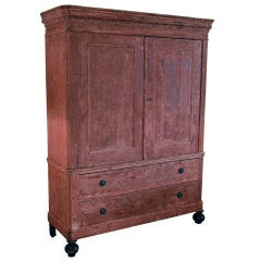Dutch Armoire in Scraped Red Paint