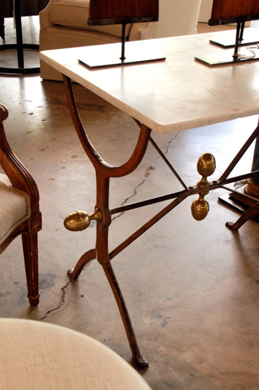 Table With Marble Top Iron Base At 1stdibs