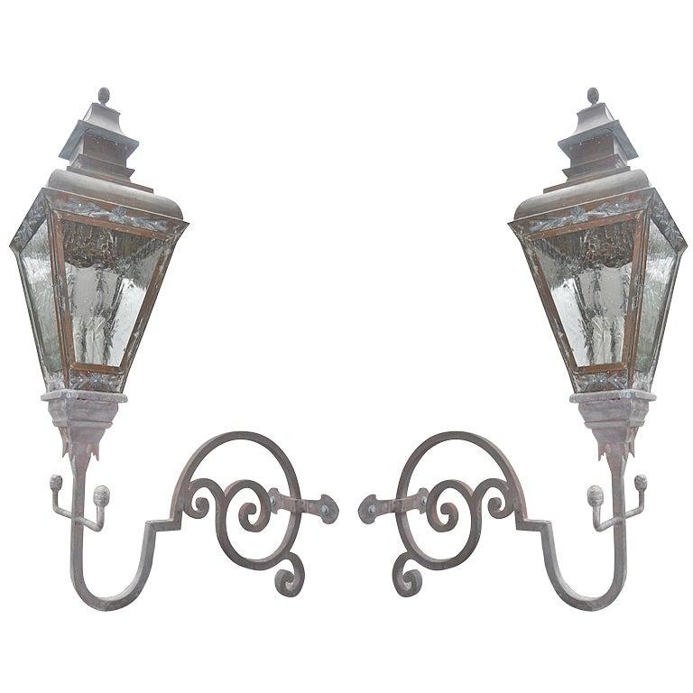 pair 19th  century wall mount lanterns at 1stdibs