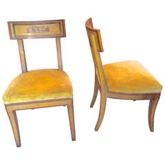 Pair of Directoire Style Painted Chairs