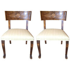 Pair 1920's Swedish Klismos Chairs by A.J. Hjort