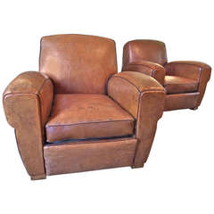 Pair of French 1930s Leather Club Chairs