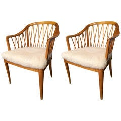 "Pair of Swedish, 1940s Carl Malmstens ""Widemar Chairs"""