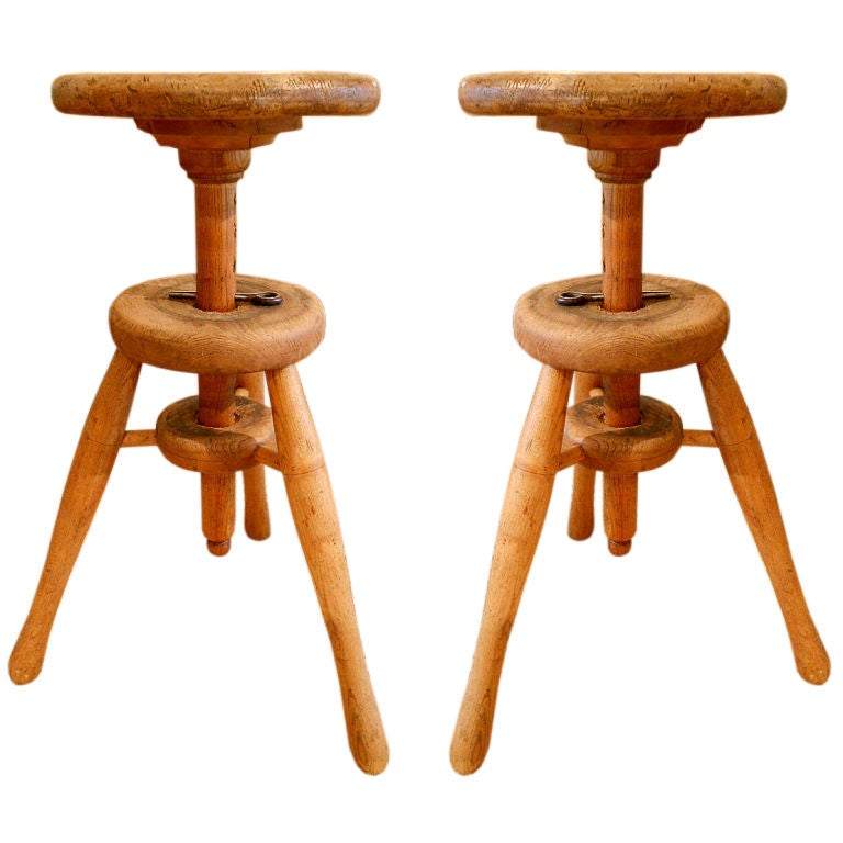 Near Pair Of German Stools At 1stdibs