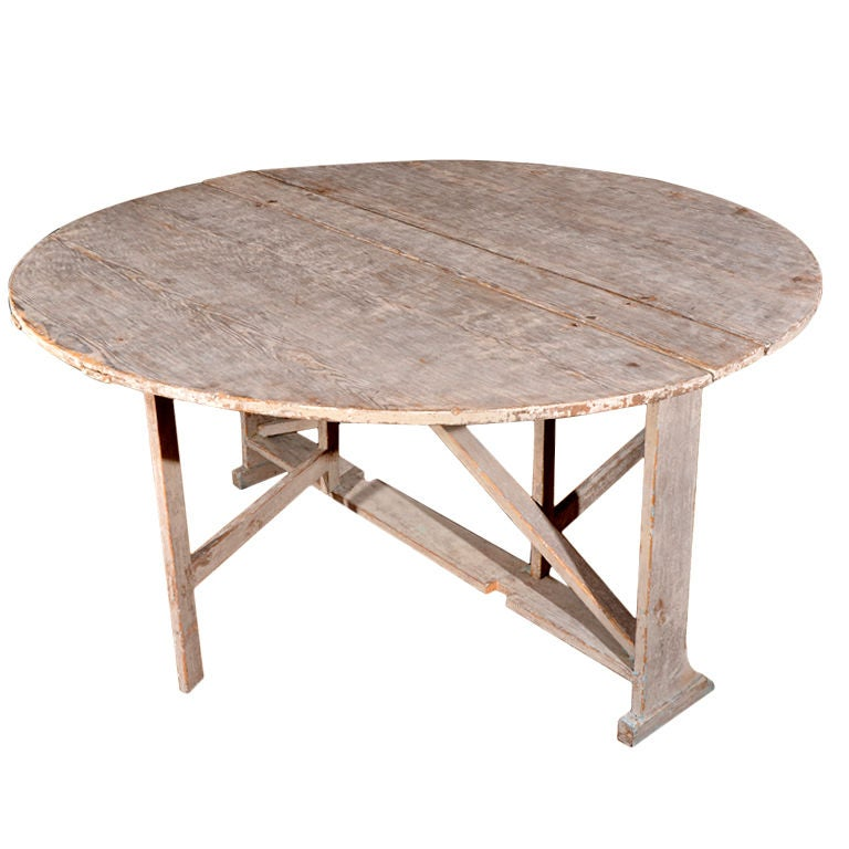 Unusual Round Swedish Drop Leaf Table At 1stdibs