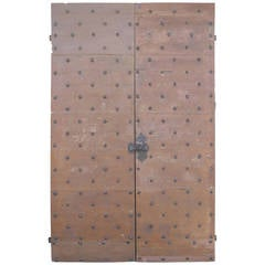 Pair of Antique 17th Century Doors with Nailhead Detailing