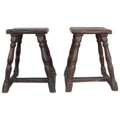 Pair of Antique 17th Century Wooden Stools
