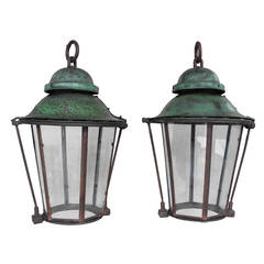 Pair of 19th Century Green Lanterns