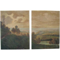 Pair Large Painted Panels from a Boiserie in Provence