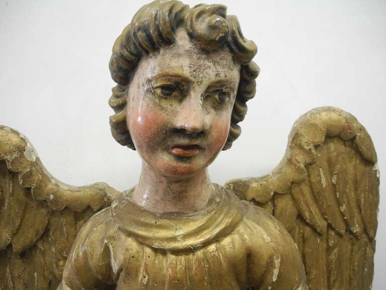 Wood Pair of Early 18th Century Antique Italian Angels For Sale