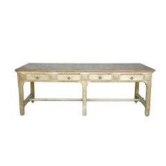 19th c. Marble Top Work Table from a Chocolate Factory in Lyon