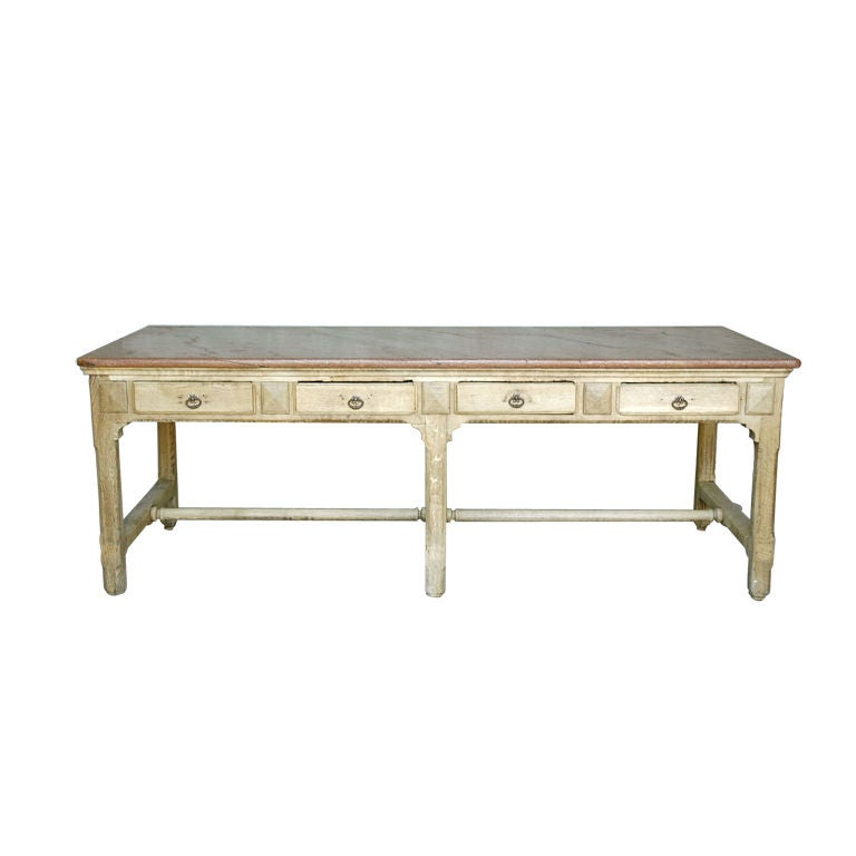 19th C Marble Top Work Table From A Chocolate Factory In