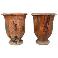 """Pair of Antique 19th Century """"Jarres d'Anduze"""" Urns"""