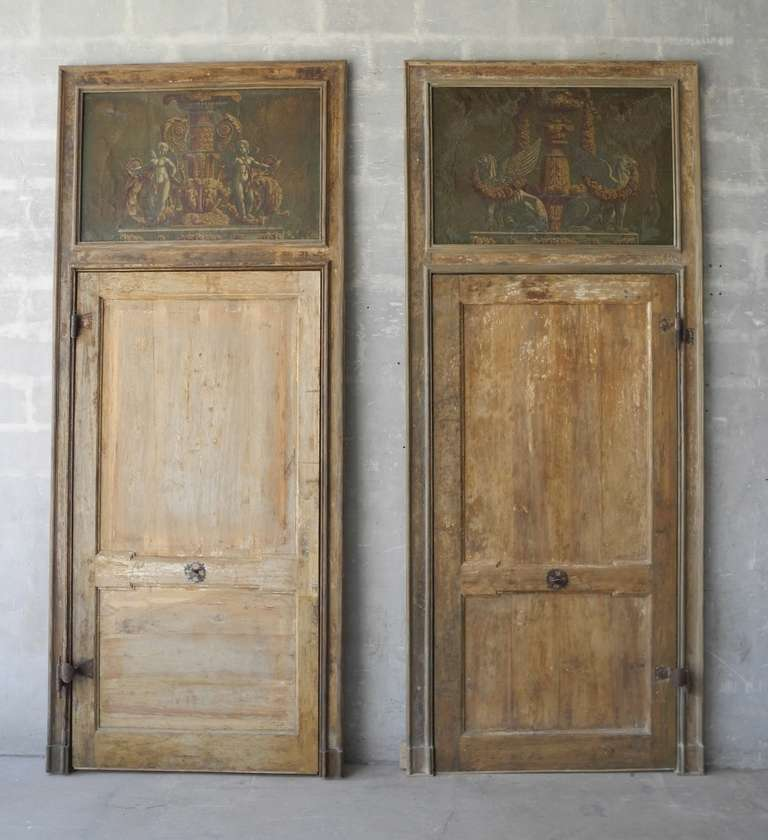 Pair of Antique 18th Century Doors with Inlaid Paintings 2