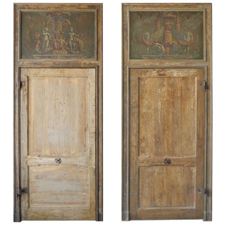 Pair of Antique 18th Century Doors with Inlaid Paintings 1