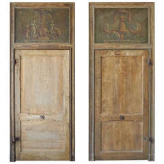 Pair of Antique 18th Century Doors with Inlaid Paintings