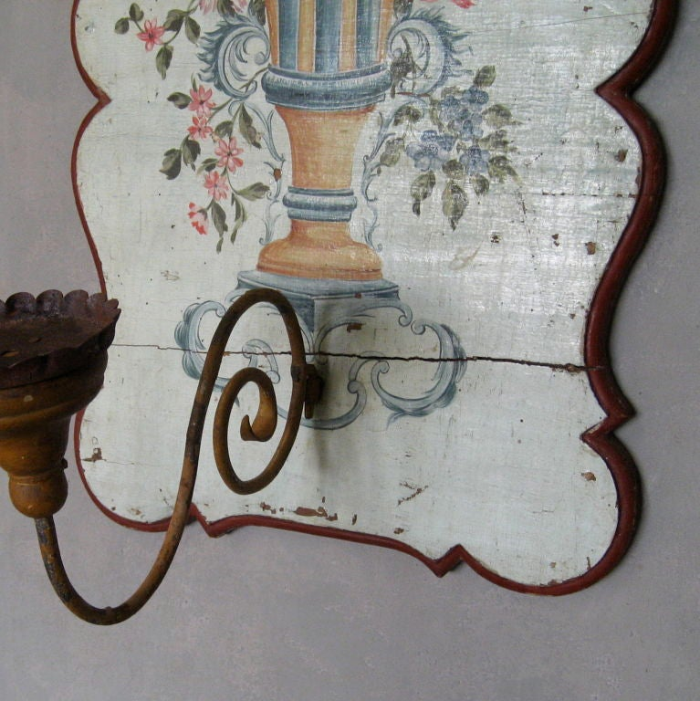 Pair 18th C Painted Wooden Panel Appliques At 1stdibs