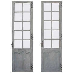 Set of Two Single Antique 18th Century Glass Doors