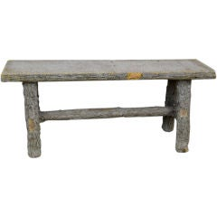 Antique Faux Bois Cement Bench