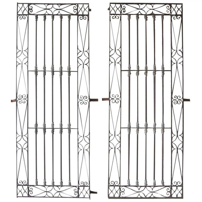 Antique Pair of 18th Century Iron Window Grilles from Uzes, France
