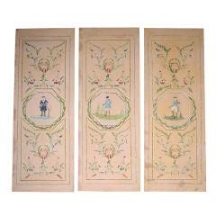 "Set of Three 19th c. ""Papier Peint"" Panels"