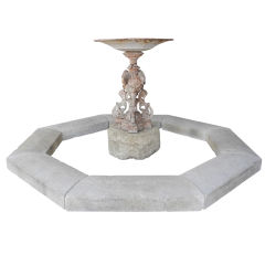 Late 18th c./Early 19th c. Iron Fountain and Stone Basin