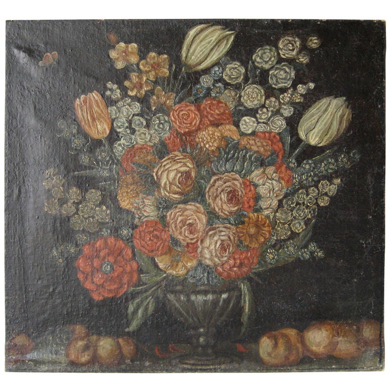 Antique 17th Century French Oil Painting of Flowers