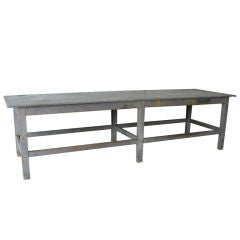 Antique Zinc Top Table from a Floral Shop in Lyon, France