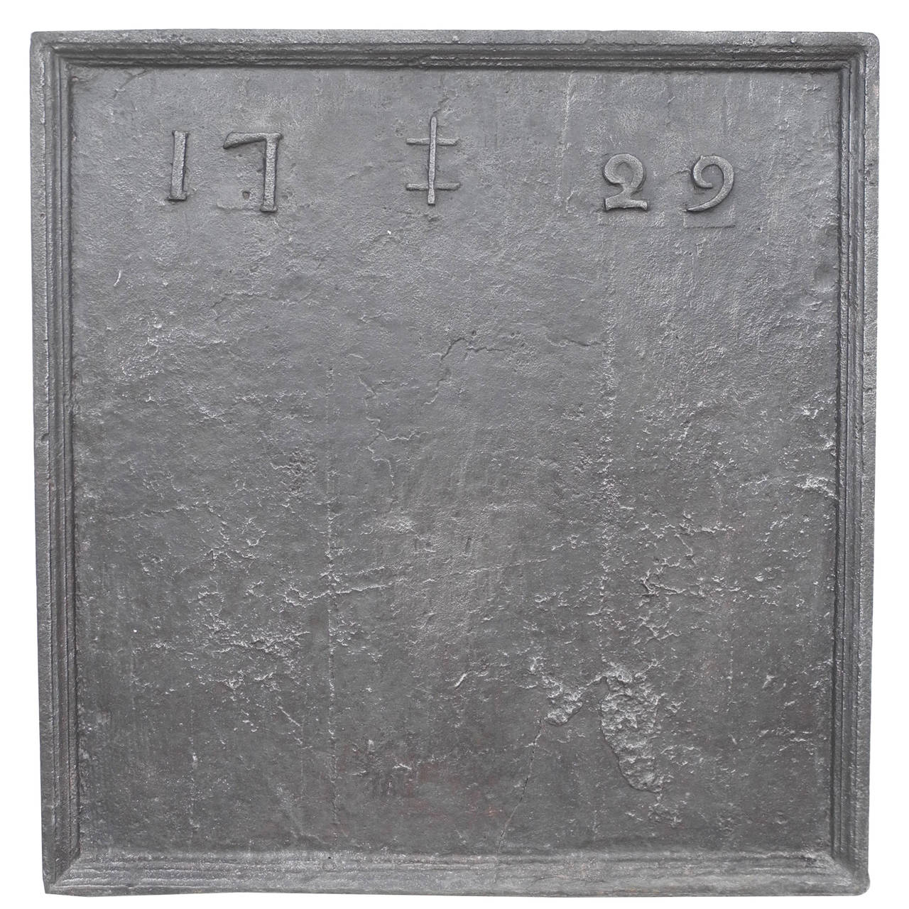 "Antique 17th Century Fireback with ""1729"" Engraving"