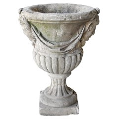 Antique 19the Century Carved Stone Urn from Lencloitre, France