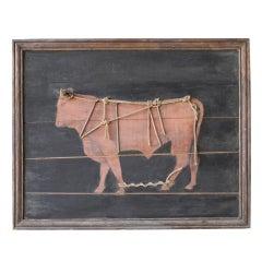 Antique Wooden Bull Panel