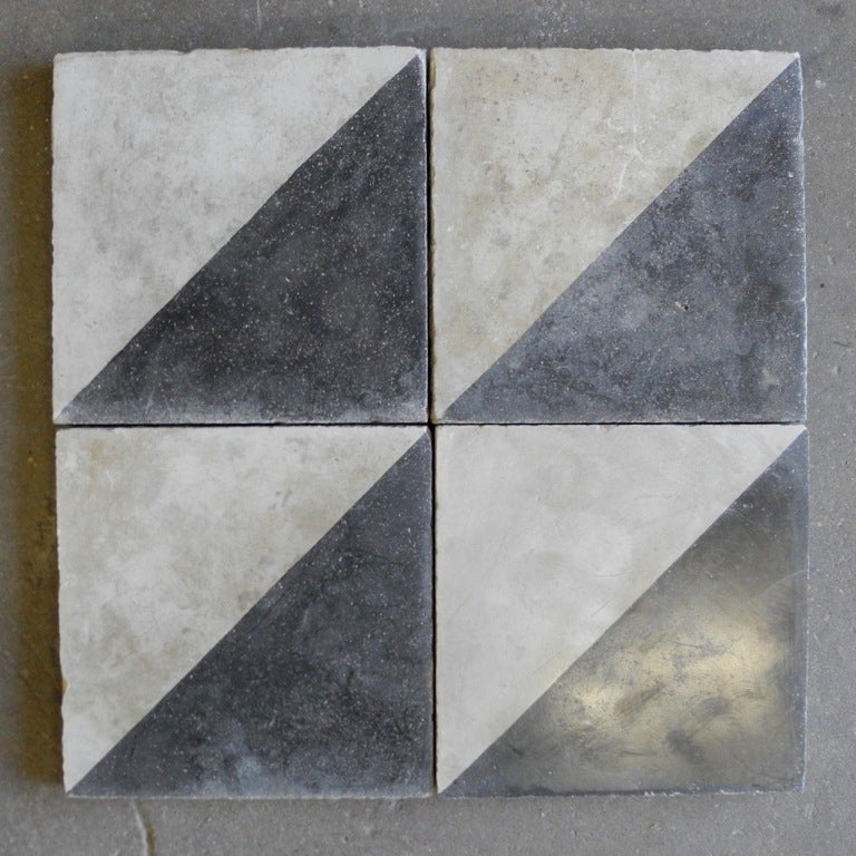 Reclaimed Black And White Colored Cement Tile At 1stdibs